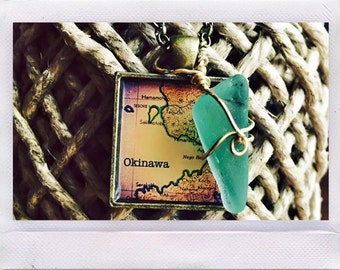 Okinawa Pendant Necklace with Charm, vintage, maps