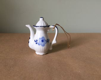 Blue and White  Miniature Porcelian Coffee Pot Ornament
