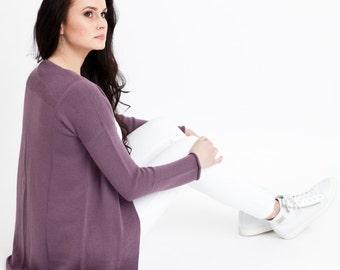 SALE 55% OFF/ Merino wool sweater violet/ merino wool jacket/ sweater jacket/ Knit sweater/ knitted merino wool sweater/