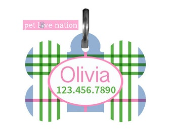 Personalized Pet Tag, Dog Tag, ID Tag, Preppy Plaid Pet Tag With Name And Phone Number