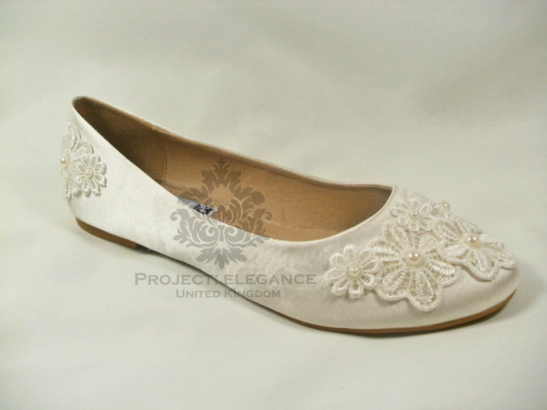 Ivory Wedding Shoes Flat, Ivory Bridal Shoes Flat, Lace Wedding ...