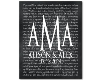 Personalized Monogram PRINT - Any song lyrics, wedding song first dance - Customized Wedding Anniversary Engagement gift - gift for couple
