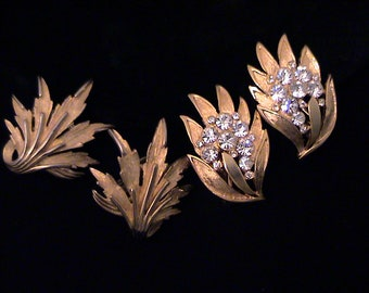 Two Pairs Vintage TRIFARI Brushed Gold Earrings, One for Day/One for Night