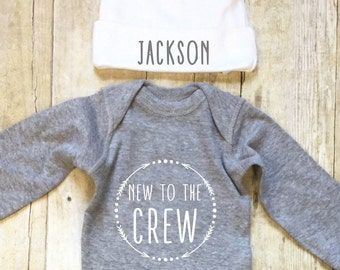 Newborn Boy Outfit-Newborn Bodysuit and Hat-Newborn Outfit-Hello World 2 Piece Outfit-Personalized Baby Outfit- Bodysuit-Monogrammed Baby