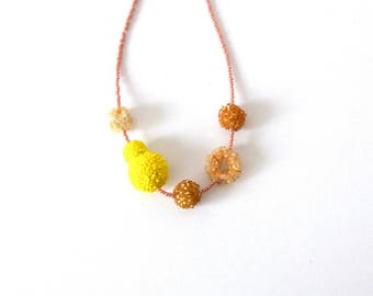 Beads necklace, shapes necklace, every day necklace, yellow,  jewellery, gift, beads jewellery, glass beads necklace, for her,
