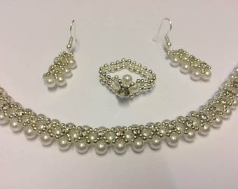 3 piece Bridal Set, Bracelet, Ring and Earrings