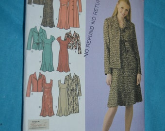 Simplicity 4014 Womens Unlined oat or Jacket in Two Lengths and Lined Dress Sewing Pattern - UNCUT - Size 20W - 28W