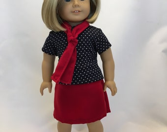 18 inch doll skirt with top and scarf