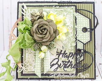 Shabby Chic Happy Birthday Layered Detailed Greeting Card
