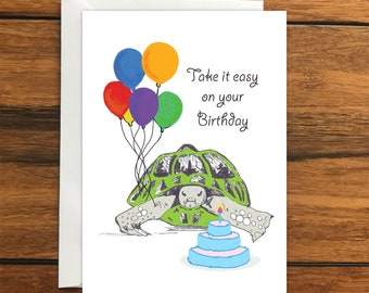 Take it easy on your Birthday Tortoise One Blank Greeting card and Envelope A6