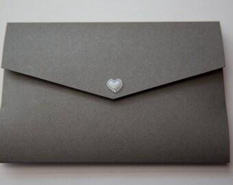 Swirls Silver Grey & Purple Pocketfold Wedding Invitation with Floral Design