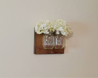 Mason Jar Organizer, Mason Jar Decor, Bathroom Decor, Office Decor, Rustic Mason Jar Wall Decor, Tiny House Decor, Small Hanging Storage
