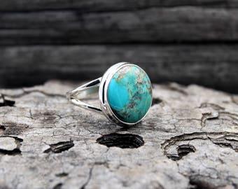 Genuine Turquoise from Arizona, Southwest Turquoise, Turquoise Jewelry, Turquoise Stone, Turquoise Ring, Native Turquoise Ring, FR 59 / US 9