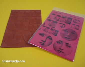 Face Blocks / Invoke Arts Collage Rubber Stamps / Unmounted Stamp Set