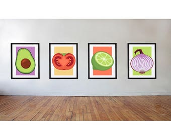 Guacamole Wall Art, Avocado Pop Art Digital Download Print, Kitchen Art Prints, Funny Home Way Art