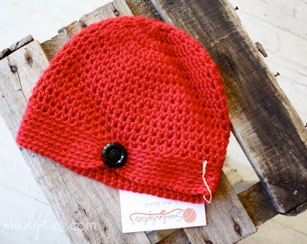 Women's Crochet Flapper Hat - Vivid Red - Black Flower Button - Vintage Style - Poppy - Crochet Cancer Hat - Flapper Beanie -
