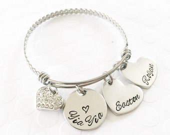 Hand stamped bracelet- Mother's jewelry - Grandmother's jewelry - Name bracelet -  Yia Yia jewelry - Gift for mom - Custom gift -