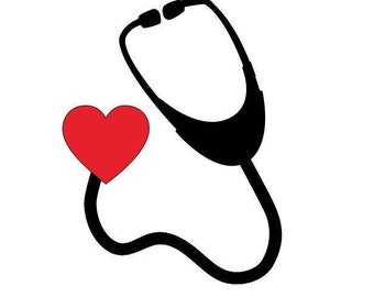 Heart Stethoscope Vinyl Decal, Phone Decal, Laptop Decal, Tablet Decal, Car Decal, Mug Decal, Personalized, Customized