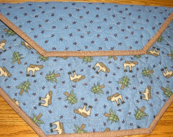 Quilted Table Runner, Northwoods Topper, Lodge Decor, 18 x 18 inches