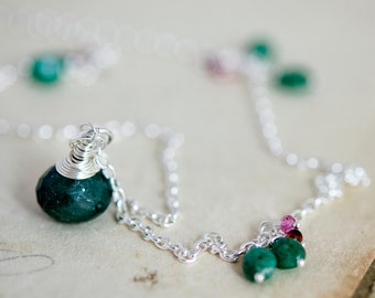 Emerald Necklace, May Birthstone, Emerald Pendant, Gemstone Jewelry, Green Pendant, PoleStar, Anniversary Gift, Tourmaline, Botanical,