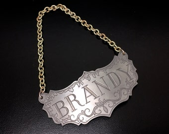 Vintage Brandy Liquor Decanter Label / Tag by Stieff Pewter, Man Cave Bar Decor