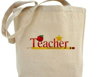 Teacher Tote - Cotton Canvas Tote Bag - Gift Bag