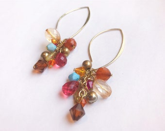 Multi-Colored Bead Cluster on Gold Marquise Hooks