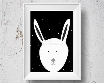 Nursery wall decor, Black and white rabbit print nursery art, Printable wall decor, nursery print