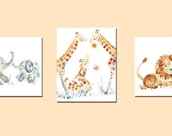 Safari Nursery Art, Safari Nursery Decor, 3 Jungle Nursery Prints, gift for baby, baby print set, Animal Nursery Prints, Nursery Decor