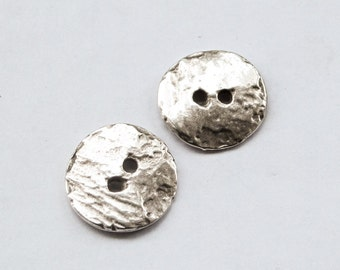 25%OFF 4 Silver Cornflake button beads Mykonos Casting 16mm DIY jewelry bracelet textured rustic buttons craft supplies (4 pcs)