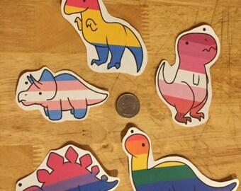 Dinosaur gay pride stickers