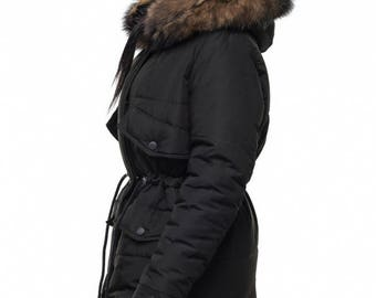 Black Coat parka with Arctic Fox on the hood