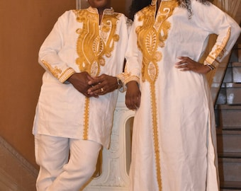 White Polished Cotton Couples Outfit With Gold Embroidery, African clothing ,African embroidery, African wedding outfit