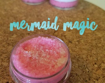 MERMAID MAGIC - Coconut + Vanilla + Strawberry - Vegan Lip Scrub 1/3 oz. - Gift for Kids - Vegan - Organic Sugar -  Lip Polish gift for her