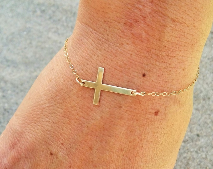 Gold Cross Bracelet, Gold Fill Chain, Cross bracelet