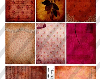 Digital Collage Sheet Vintage Love Background Images Valentine (Sheet no. O111)-Instant Download
