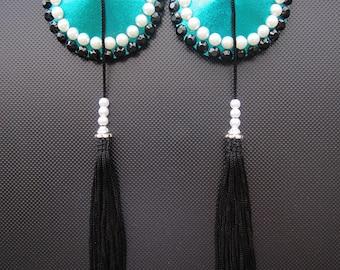 Vintage Chic burlesque pasties Emerald green tassels Black rhinestones & pearls nipple covers Erotic lingerie Custom lingerie