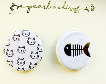 Cat and Fish Pinback Button Set (Pack of 2)