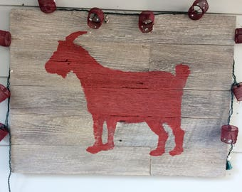 Faux Barnwood Cast Resin Billy Goat Stencil Pictures - Indoor/Outdoor