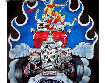 Hot rod art print, psychobilly art, marshys art, Hot rod hooligans,