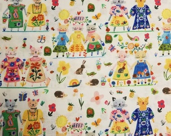 BFFs Carolyn Gavin white with fancy cats, rabbits and more ; new 100% cotton quilting fabric windham fabrics