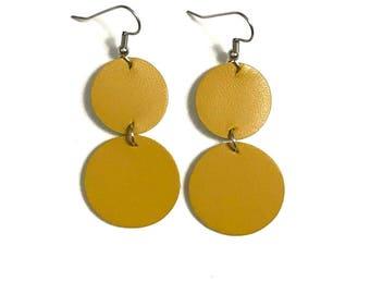 Large Leather Earrings; Leather Earrings; Leather Circle Earrings; Yellow Leather Earrings; Lightweight Earrings; Statement Earrings