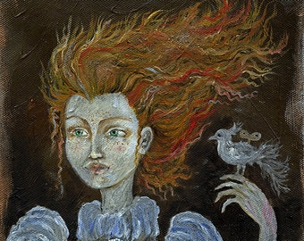 Ginger girl with a bird original oil painting