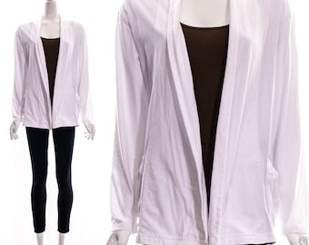 Vintage 90s White Oversized Cotton Knit Cardigan Slouchy Boyfriend Kimono Jacket MINIMALIST Comfortable T-Shirt Small Medium