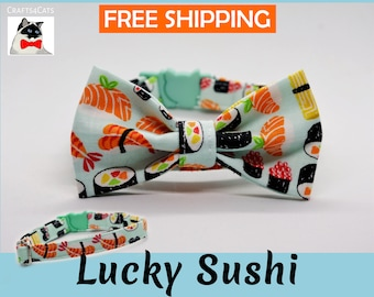 Cat bow tie 'Lucky Sushi', breakaway cat collar, kitten collar, cat collar with bell, mint cat collar,blue,silver,Crafts4Cats