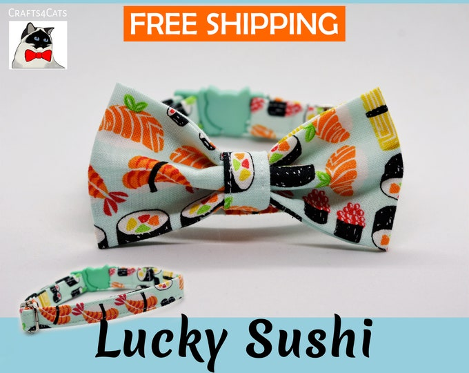 Featured listing image: Cat bow tie 'Lucky Sushi', breakaway cat collar, kitten collar, cat collar with bell, mint cat collar,blue,silver,Crafts4Cats