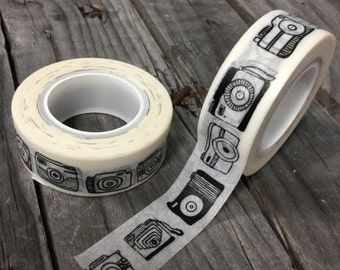 Washi Tape - 15mm - Camera sketch Black on White Pattern - Deco Paper Tape No. 302