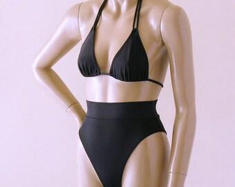 80s 90s High Leg High Waist Brazilian Bikini Bottom and Double String Triangle Top in Black
