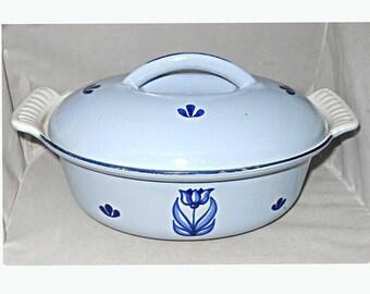 Mid Century Modern Dutch Oven Oval Casserole Lidged Pot Tulip Windmill Pale  Blue Holland Dru Cast