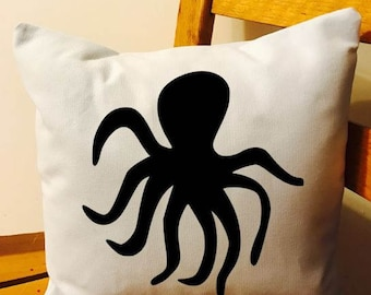 Octopus throw pillow, nautical decor, Nautical throw pillow
